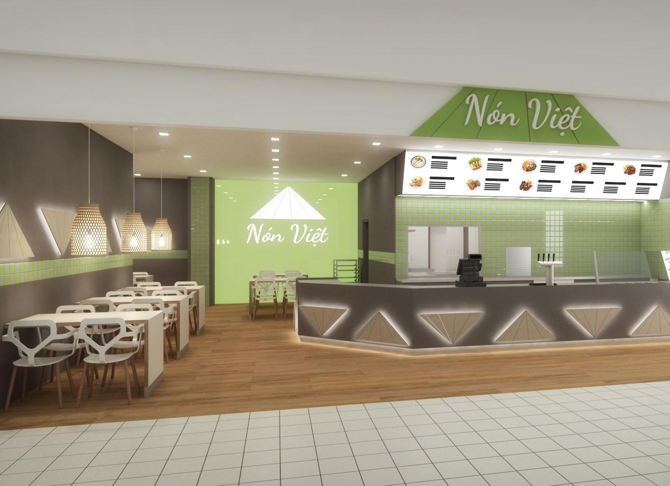 návrh interiéru vietnamského fast foodu